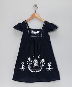 Take a look at this Blue & White Nayeli Dress - Infant, Toddler & Girls by Little Cotton Dress on #zulily today!