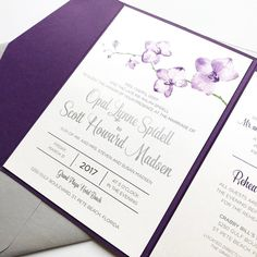 Congrats to Opal & Scott who were married last Friday on St. Pete Beach in Florida!  We brought the light and airy vibe of their wedding day to their pocket invitations adorned with a purple orchid.  I'm so excited to show off so many more designs as those lucky April couples get married in the upcoming months!!