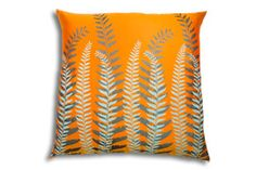 Exotique Cushion; Orange with Charcoal and Light Blue