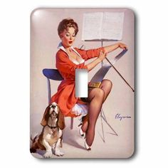 3dRose Print of Elvgren Pinup Plays While Dog Sings, Single Toggle Switch