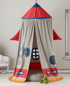 Kids Play Tents: Rocket Ship Play Tent in Playroom Furnishings - for kiddo's big boy room reading nook Indoor Tents, Indoor Playhouse, Bedroom Themes, Kids Bedroom, Space Theme Bedroom, Baby Bedroom, Bedroom Colors, Bedroom Decor, Home Rocket