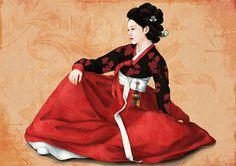 Korean traditional clothes: November 2011 DAMN red hanboks are so badass! Korean Hanbok, Korean Dress, Korean Outfits, Korean Traditional Dress, Traditional Dresses, Traditional Art, Korean Art, Asian Art, Korean Painting