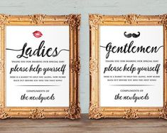 Wedding Ideas Discover Wedding bathroom basket signs - womens and mens hospitality basket - his and hers bathroom signs - help yourself - printable and Bathroom Basket Wedding, Wedding Bathroom Signs, Wedding Signs, Wedding Ideas, Bathroom Table, Wedding Quotes, Trendy Wedding, Wedding Details, Wedding Favors