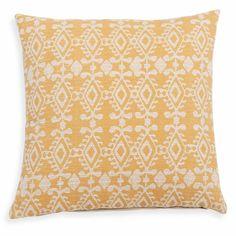 Housse de coussin en coton jaune motifs jacquard 40x40cm CARGUAS