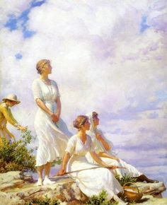 """Summer Clouds""  Charles Courtney Curran,  Oil painting, 1917"