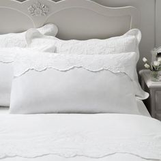 Dorma White Provence Collection Top Cuff Pillowcase