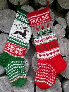 Set of 2 Christmas stocking Personalized Wool Hand knit Red Green Gray White with  Deer Snowflakes Trees Christmas ornament Gift