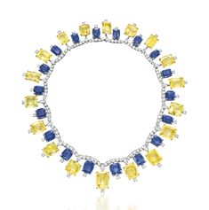 A sapphire, yellow sapphire and diamond necklace, by Cartier #christiesjewels #cartier