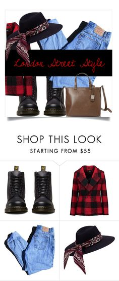 """""""Plaid coat"""" by sissifashionista ❤ liked on Polyvore featuring Dr. Martens, Line, Levi's and Bugatti"""