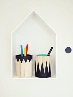 """Schreibtisch-Set, Stiftebecher """"Geometrie"""", 2Stck. von Ahoj-2012 auf DaWanda.com"""