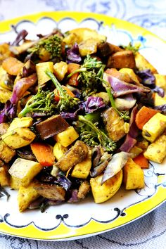 Curry Baked Veggies with Eggplants, Purple Cabbage and Yellow Squash - Recipes, Vegetables - Divine Healthy Food