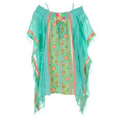 Las Noches Poncho aus Baumwolle mit Stickerei in Multicolor auf... ($605) ❤ liked on Polyvore