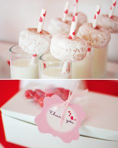 Milk Glasses topped with Mini Donuts on Heart Straws - breakfast idea for v-day!