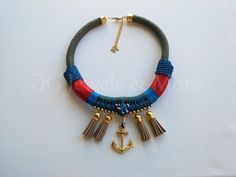 Anchor Navy Rope necklace khaki red gold plated beige tassel tinas creations #GGJewelsAndMore #Navy
