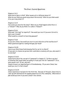The Giver Short Essay - Answer Key
