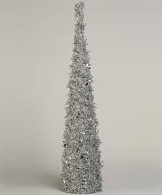Look at this #zulilyfind! 30'' Silver Iced Beaded Cone Tree by K&K Interiors #zulilyfinds