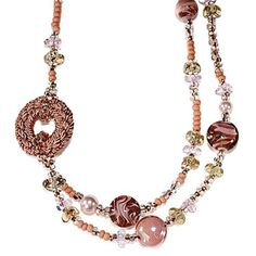 Antica Murrina Pastel Pink and Cream Jewel Glass C0814A03 Necklace. Available at http://www.identityonline.biz/products/Antica-Murrina/1698