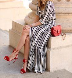 With a Pop (Brooklyn Blonde) Maxi Shirt Dress, Striped Shirt Dress, Striped Long Sleeve Shirt, Striped Maxi, Tie Dress, Brooklyn Blonde, Iconic Dresses, Next Clothes, Dress Picture
