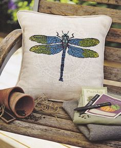 DRAGONFLY  needlepoint kit for cross stitch diy by anetteeriksson, $35.00