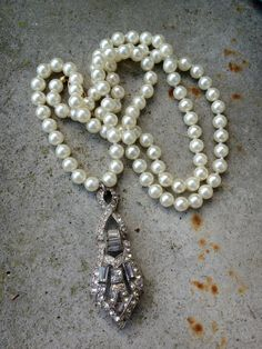1920s Assembled Paste Rhinestone pearl Necklace by funkyjunkmama, $58.00