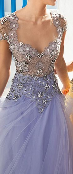 Lavender beaded tulle gown