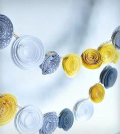 Yellow & Grey Paper Flower Garland - Set of 2