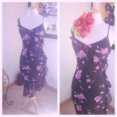 Sale Vintage 1940s Style Dress Black Floral Purple XS s 1930s Pinup Swing 40s | eBay