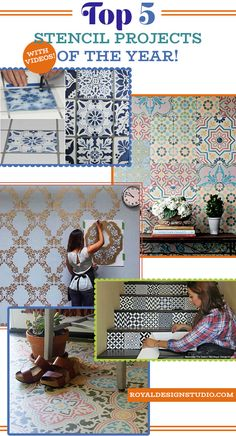 Top 5 How to Stencil Tutorials and DIY Home Decor Projects of the Year using Wall Stencils, Furniture Stencils, Tile Stencils, and Floor Stencils (with **VIDEO**) - Royal Design Studio