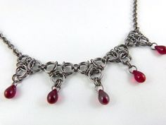 Dracula's Aura Gunmetal Chainmaille Necklace in Red  by angelyques
