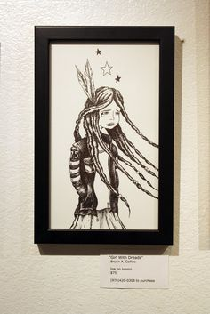 Girl With Dreads Ink Drawing by Bryan Collins