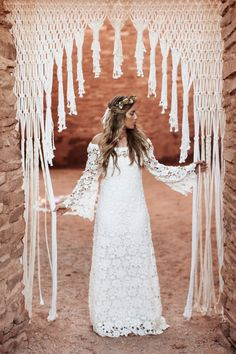 Macrame Wedding - Background Arch #bohemian #modernmacrame Quarai Ruins, New Mexico