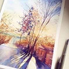 The captivating colors of fall are captured in this watercolor painting by Dina Lepchenkova (@dindinia)