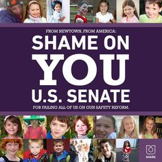 Shame on the U.S. Senate for voting against gun purchase background checks. Tell them. Sign the petition.