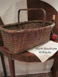Antique 1800s FOLK ART Large Carved Handle Gathering Woven Black Ash BASKET AAFA #Americana