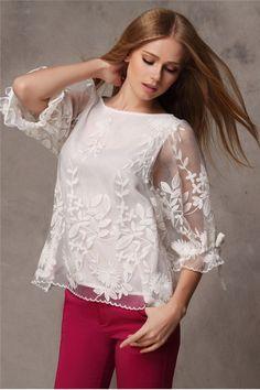 Women Embroidered Chiffon Lace Blouse