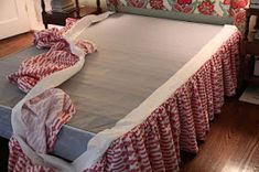 diy ruffled bed skirt - uses upholstery twist pins to secure to the box spring - no slipping dust ruffle Ruffle Bed Skirts, Ruffle Bedding, Girl Skirts, Boho Bedding, Bedspread, Bedding Sets, Home Projects, Sewing Projects, Sewing Tutorials