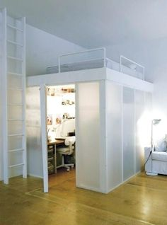 mezzanine bed - holy crap So cool - could do this in my room! I could have a living room and bed room in one! Mezzanine Bedroom, Bedroom Loft, Bedroom Decor, Bedroom Ideas, Mezzanine Floor, Small Room Bedroom, Small Rooms, Small Apartments, Loft Furniture