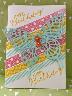 Angeliki Kolo Independent Stampin' Up! Demonstrator. 'Butterfly Basics' Stamp Set & Butterflies Thinlits Dies, (Also available as Bundle), Beach House Washi Tape.