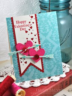 My Favorite Things: Boutique Borders: Valentine + Cupid's Arrow Valentine Cupid, Valentine Love Cards, Valentine Banner, Valentine Crafts, Wedding Anniversary Cards, Paper Cards, Creative Cards, Homemade Cards, Scrapbook Cards