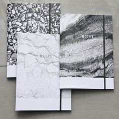 Black And White Marble, Wood Or Beach Stones Notebooks