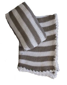 Knit Doll Blanket and Pillowcase, Grey