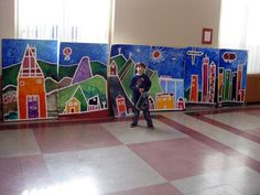 Masking tape mural - urban, suburban, rural Also, looks like some of Hockney's early landscapes Fabulous textures Group Art Projects, Collaborative Art Projects, School Art Projects, School Murals, 3rd Grade Art, Ecole Art, Middle School Art, Art Lessons Elementary, Art Lesson Plans