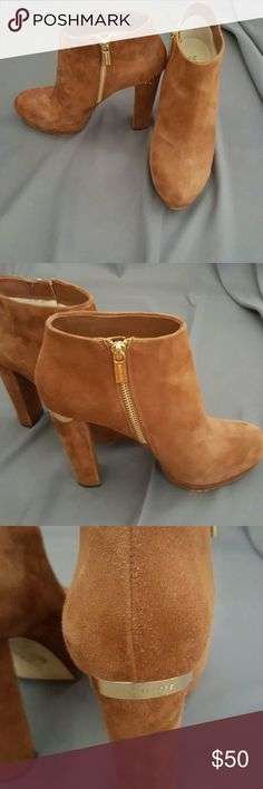 "Michael Kors Suede Ankle Booties, Luggage Color Beautiful suede booties with gold accents around top of back heel and inner side zippers.  Heel height 4"".  Great condition.  No wear on the suede or heels.  Just a little wear on the soles. Michael Kors Shoes Ankle Boots & Booties"
