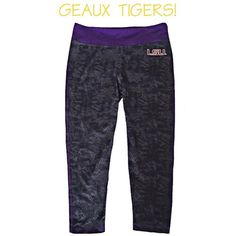 NEW! LSU TIGERS CROPPED/CAPRI WORKOUT PANTS XS/S AWESOME LSU TIGERS CROPPED/CAPRI STYLE WORKOUT/RUNNING PANTS! BRAND NEW WITHOUT TAGS. NEVER WORN. COOL BLACK/GREY PATTERN WITH LSU EMBLEM ON FRONT AND PURPLE WAISTBAND. BACKSIDE WAISTBAND HAS A ZIPPER POCKET TOO! WOMENS SIZE SMALL. FITTED STYLE SO WILL ALSO FIT A SIZE XS AS WELL! Other