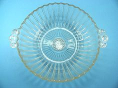 Beautiful Clear Glass Serving Bowl With Handles by Chaseyblue