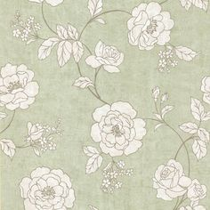 Kenneth James Madelaine Outline Rose Wallpaper Light Green - 62-65840