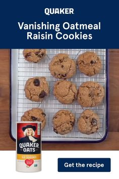Looking for a quick treat to make with your Quaker Oats? Try our Vanishing Oatmeal Raisin Cookie Recipe for a bite of dessert that bakes in under ten minutes. Quaker Oatmeal Raisin Cookies, Vanishing Oatmeal Raisin Cookie Recipe, Oatmeal Cookie Recipes, Quaker Oat Cookie Recipe, Quaker Oats Recipes, Biscuits Aux Raisins, Cookies Et Biscuits, Sweet 16, Chocolate Chip Cookies