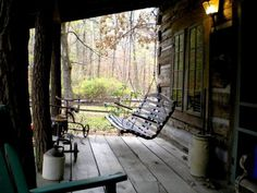 Porch swing at the cabin.