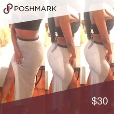 High Waisted Grey Maxi Skirt Perfect to pair with any top. You will instantly look sexy!    Brand for exposure Tags attached! Fashion Nova Dresses Maxi