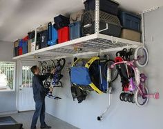 "SafeRacks Overhead Garage Storage Bike Rack Heavy Duty (18""-33"" Ceiling Drop)"